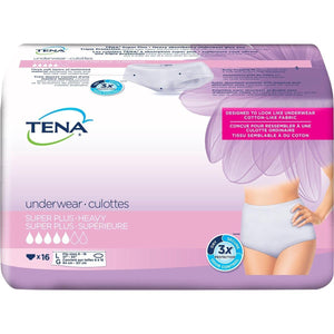 TENA Women Super Plus Underwear for Women for moderate to heavy bladder leak protection - disposable protective underwear in Large packaging