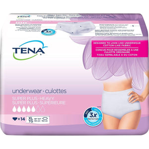 TENA Women Super Plus Underwear for Women for moderate to heavy bladder leak protection - disposable protective underwear in XL packaging