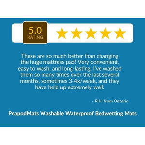 "5 Star Customer Review: ""These are so much better than changing the huge mattress pad! Very convenient, easy to wash and long-lasting. I've washed them so many times over the last several months, sometimes 3-4x/week, and they have held up extremely well."" - PeapodMats washable waterproof bed wetting mats"