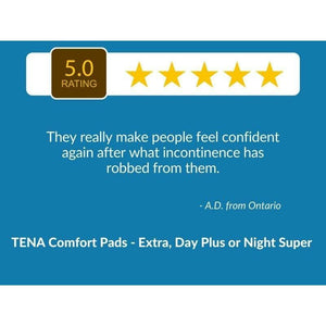 "5 Star Customer Review: :""They really make people feel confident again after what incontinence has robbed from them."" TENA Comfort Pads - Extra, Day Plus or Night Super"