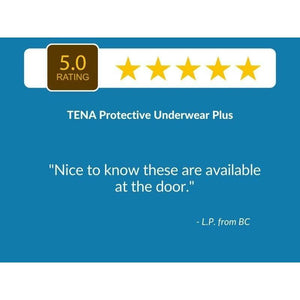 "5 Star Customer Review: ""Nice to know these are available to the door."" - TENA Protective Underwear Plus"
