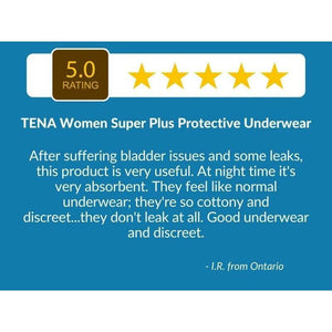 "5 Star Customer Review"" ""After suffering bladder issues and some leaks, this product is very useful. At night time it's very absorbent. They feel like normal underwear; they're so cottony and discreet...they don't leak at all. Good underwear and discreet."" - TENA Women Super Plus Protective Underwear"