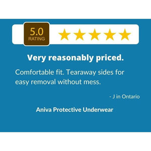 5 Star Customer Review for Aniva Protective Underwear: disposable underwear for incontinence protection
