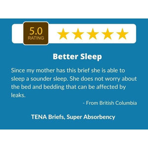 5 Star Customer Review for TENA Briefs Super Absorbency: disposable underwear for incontinence protection