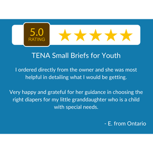 5 Star Customer Review for TENA Small Briefs for Youth: disposable underwear for incontinence protection