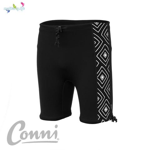 Reusable Containment Swim Shorts for Adults; black with Aztec pattern from Conni