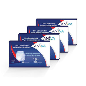 Aniva Protective Underwear Regular plus in Large disposable underwear for bladder leak incontinence protection, front package of 4 cases