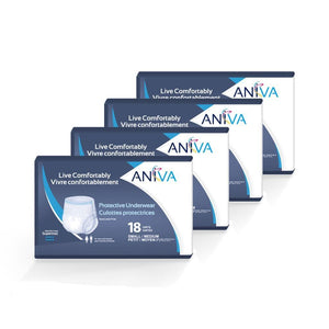 Aniva Protective Underwear Supermax in Small/Medium disposable underwear for bladder leak incontinence protection, front package of 4 cases