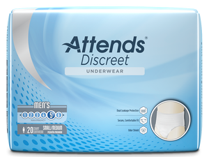 Attends Discreet Men's disposable protective Underwear for bladder and bowel incontinence packaging in Small/Medium