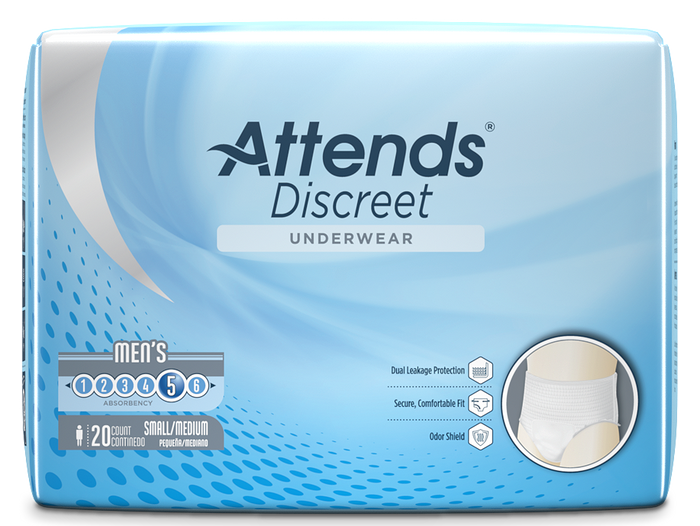 Attends Discreet Men's Disposable Incontinence Bladder Leak Underwear