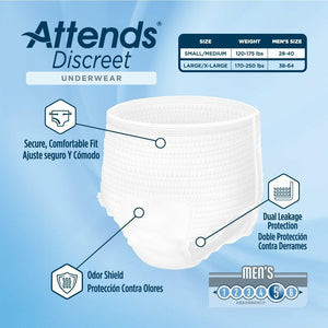 Attends Discreet Men's disposable protective Underwear for bladder and bowel incontinence product features