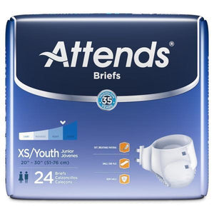 Attends Briefs Extra Small / Youth Adult Diapers for incontinence, front of package