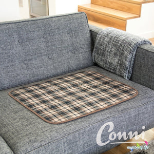 Conni washable and reusable Chair Pad with waterproof barrier Large Tartan