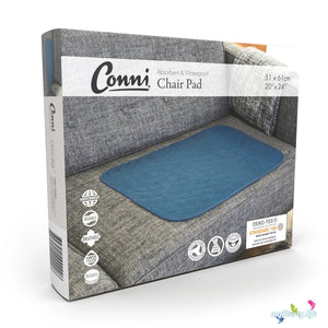 Large Conni Washable Chair Pad with waterproof barrier in Teal Blue packaging