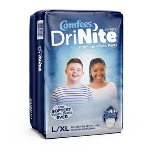 Comfees Premium Dri-Nite Juniors Youth Pants in Large/XL disposable underwear for bed wetting incontinence, front packaging