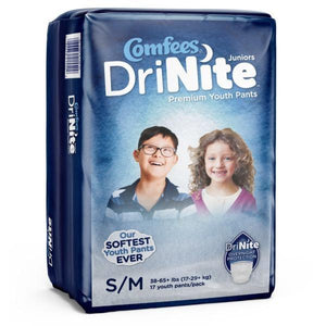Comfees Premium Dri-Nite Juniors Youth Pants in Small/Medium disposable underwear for bed wetting incontinence, front packaging