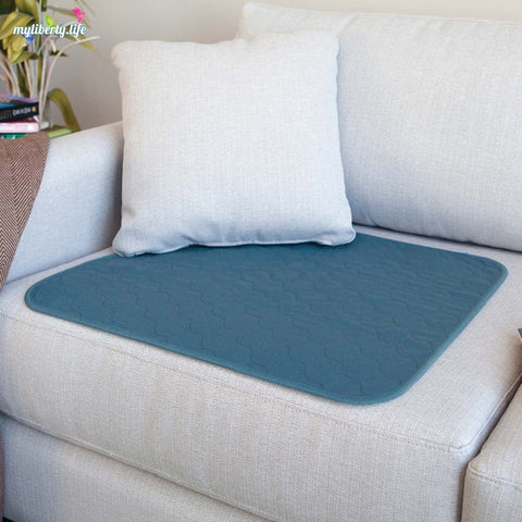 Conni Chair Pad with waterproof barrier - teal blue, large