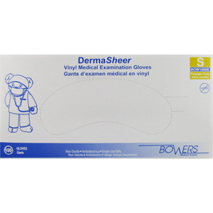 DermaSheer Vinyl Examination Gloves sold by the box or case