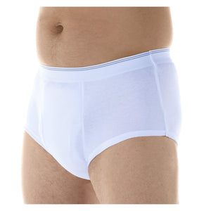 Wearever Canada Men's washable absorbent leak control underwear; Maximum Absorbency 20 oz bladder leak protection, white front view