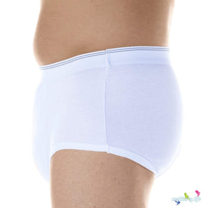Wearever Canada Washable Men's Briefs for bladder leak protection Maximum Absorbency: Absorbs up to 20 ounces side profile view