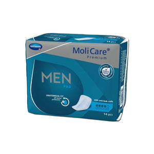 Molicare Premium Men's Anatomical Fit Pads in 4 Drops absorbency pads for bladder leak protection, front of package