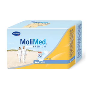 Molimed Premium Pad with light to moderate absorbency bladder protection pad for incontinence, midi packaging
