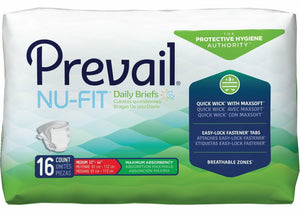 Prevail® NuFit® Adult Brief in Medium disposable underwear for incontinence, front packaging