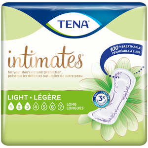 TENA Intimates Pads: Ultra Thin Light Long packaging - disposable bladder leak protection pads designed for women