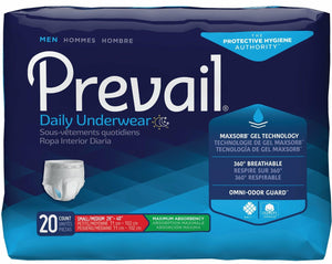 Prevail Disposable Underwear for Men in Small/Medium Disposable Underwear for incontinence, front packaging