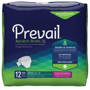 "Prevail Specialty Sized Briefs - Bariatric Adult Diapers - A size fits 62""-73"" waist package front"