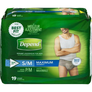 Depend FIT-FLEX  in Small/Medium Men's disposable Underwear for light bladder leak protection, front packaging