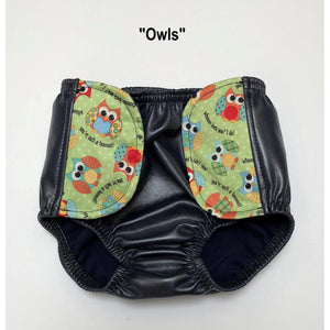 SOSecure Containment Swim Brief for Children with owls pattern on the velcro tab closures