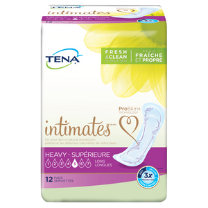 TENA Intimates Pads: Maximum (previously Heavy) Long packaging - disposable bladder leak protection pads designed for women; 12 pack