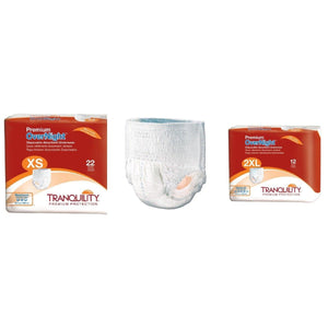 Tranquility Premium OverNight Disposable Absorbent Underwear from Extra Small to 2XL - package and product