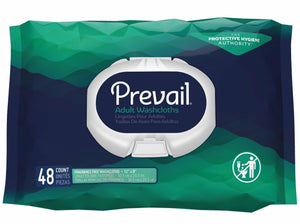 Prevail Disposable Incontinence Washcloths Soft Pack with Press Open Lid Fragrance Free packaging front
