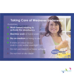 Wearever Canada Absorbent Underwear - Washing instructions to Activate Absorbency