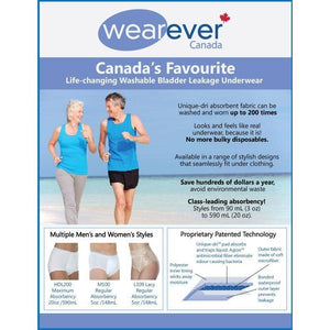 Wearever Canada washable absorbent leak control underwear brochure