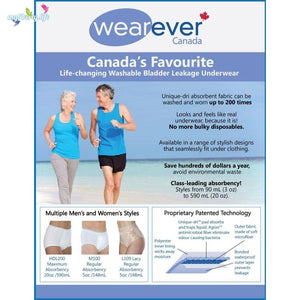Wearever Canada's Favourite - Life Changing Washable Bladder Leakage Underwear - Men & Women's Styles