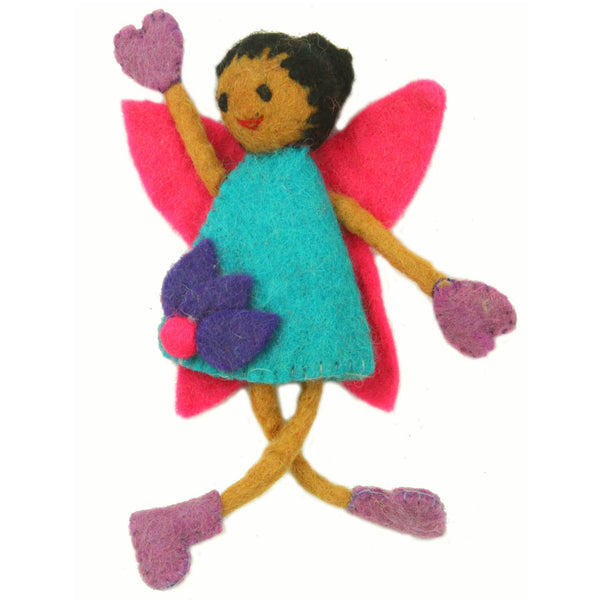 Hand Felted Tooth Fairy Pillow - Black Hair with Blue Dress - Global Groove