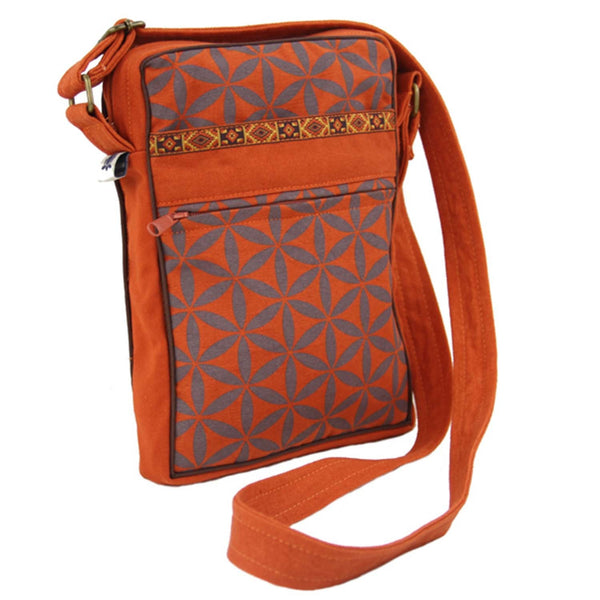 Flower of Life Festival Bag - Terracotta/Grey - Global Groove (B)