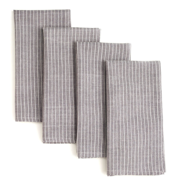 Grey Stripes 20 inch Cotton Napkin Set of 4 - Sustainable Threads (L)