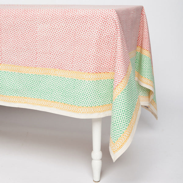 Orange Geometric Cotton Tablecloth 60 by 60 - Sustainable Threads (L)
