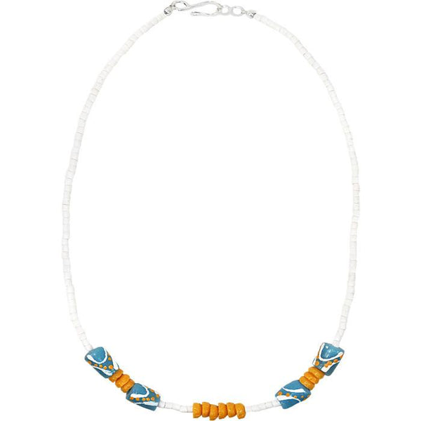 Hand Painted Necklace Light Blue - Global Mamas