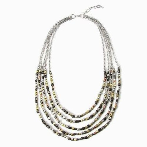 Ombre Metallic Tiered Necklace - WorldFinds
