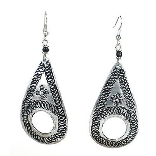Stamped Recycled Cooking Pot 'Open Teardrop' Earrings - Zakali Creations