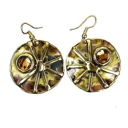 Crystal Sunburst Brass Earrings - Brass Images (E)