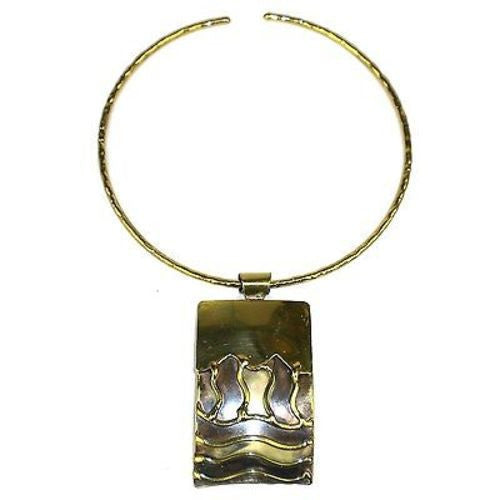 Waves Brass Pendant Necklace - Brass Images (N)