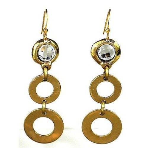 Crystal and Loops Brass Earrings - Brass Images (E)