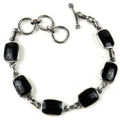 Handcrafted Mexican Alpaca Silver and Onyx Bracelet - Artisana