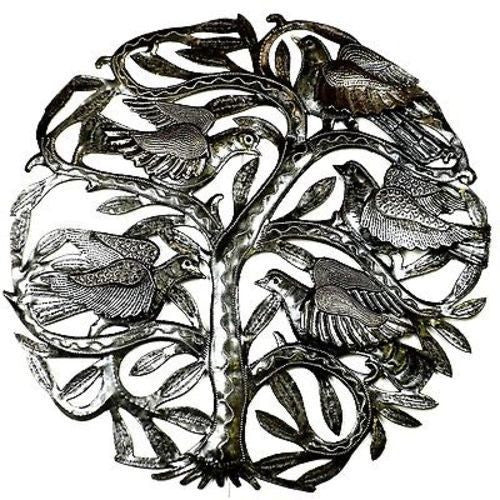 24-inch Tree of Life with 3-D Birds Metal Art - Croix des Bouquets